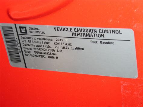 Ducati Emissions Sticker by 2012 V6 45th Anniversary Vehicle Emission Tag