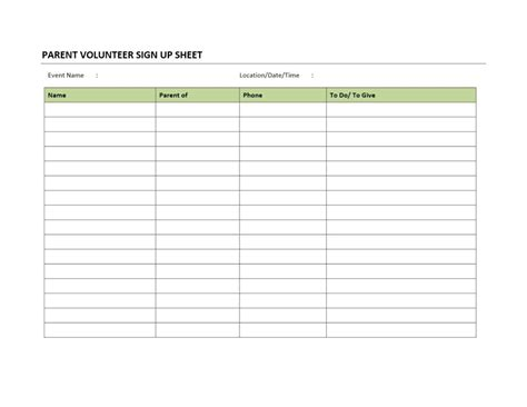 volunteer sign up sheet template parent volunteer sign up sheet