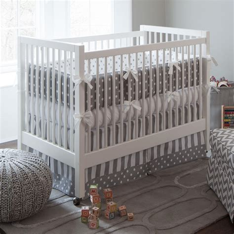 white crib bedding gray and white dots and stripes 3 piece crib bedding set