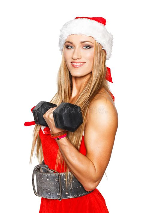 fitness christmas pics fitness with barbell stock image image of attractive muscles 34421017