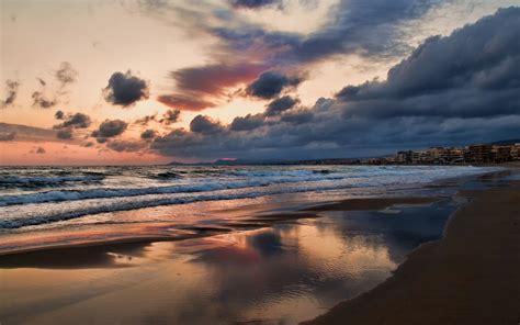 1440x900 kr best wallpaper net 바탕 화면 다운로드 1440x900 그리스 크레타 섬 도시 해변 바다 저녁 일몰 하늘 구름