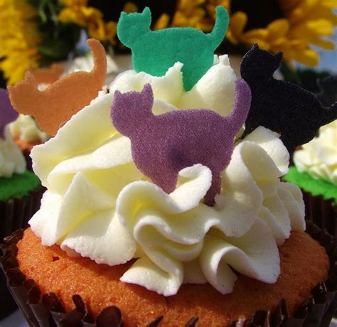 halloween cake decorations edible stand  wafer cats cat cake toppers ebay