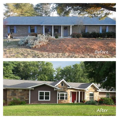 before and after exterior renovation ranch house remodel with shakes and brick