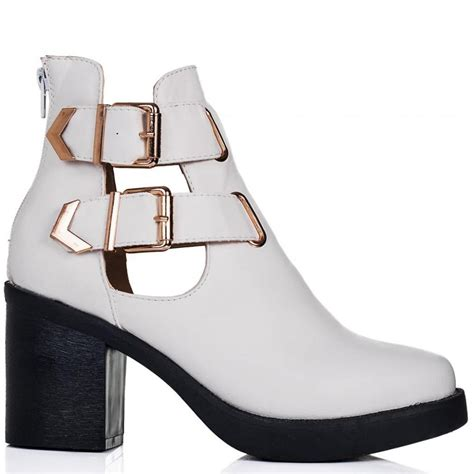 buy hadley block heel cut out biker ankle boots white