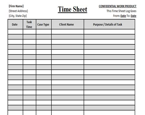 Daily Time Card Template by Firm Client Time Tracking Template