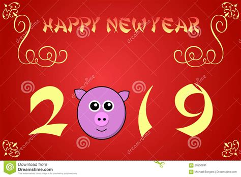 new year 2019 china happy new year card illustration for 2019 stock
