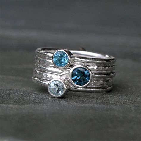 blue topaz aquamarine sterling silver stacking
