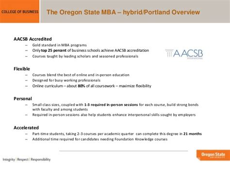 Part Time Mba Portland by Oregon State Mba Portland Programs Overview