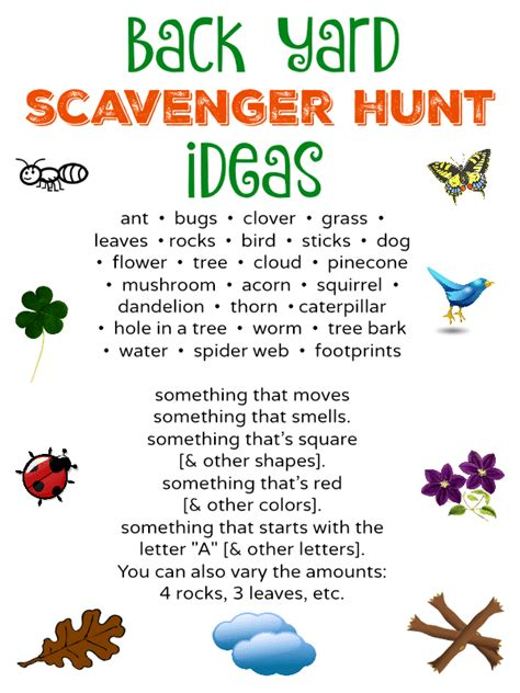 backyard scavenger hunt list free to be outside back yard scavenger hunt free
