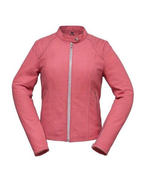 Pink Leather Sporty Motorcycle Jacket Only 2x Left