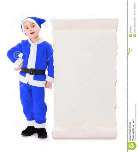 imagenes santa claus azul little blue santa claus standing near big wish list stock