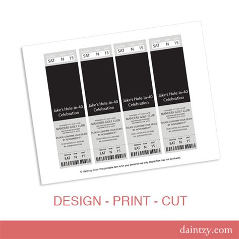 Ticket Style Invitation Template event ticket photo invitation template printable diy make