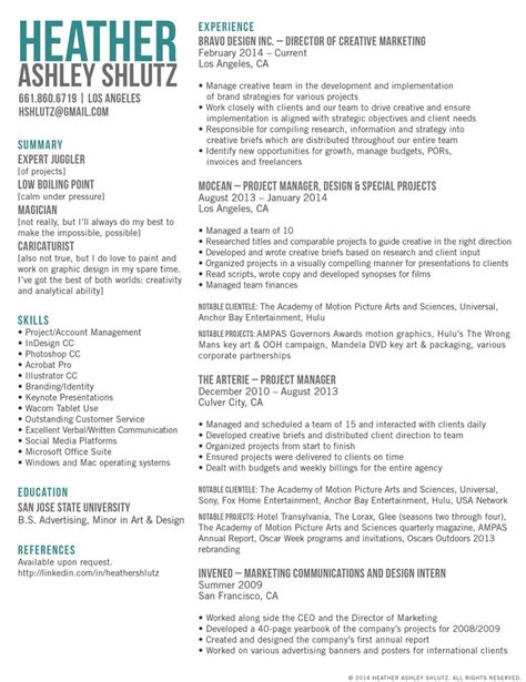 Creative Director Resume Sles 1000 ideas about marketing resume on best resume resume writing and
