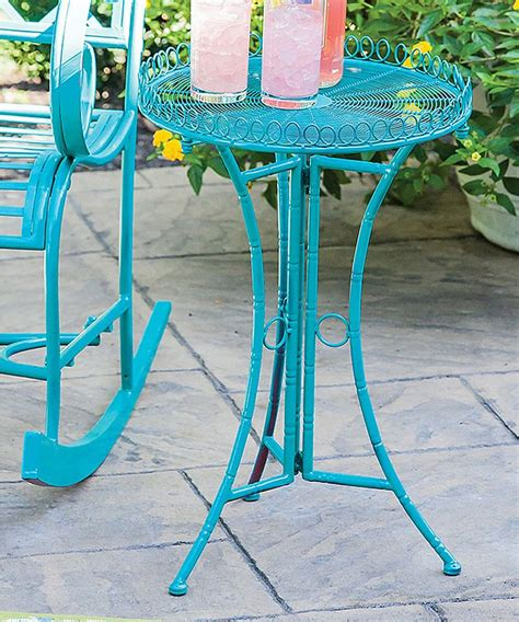 turquoise outdoor side table turquoise powder coat indoor outdoor metal side table