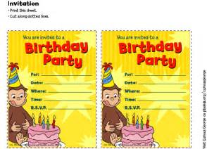 curious george invitations birthday pbs parents pbs