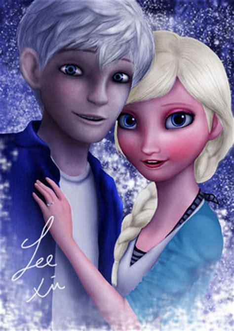 film frozen elsa dan jack elsa and jack frost frozen fan art 37267093 fanpop