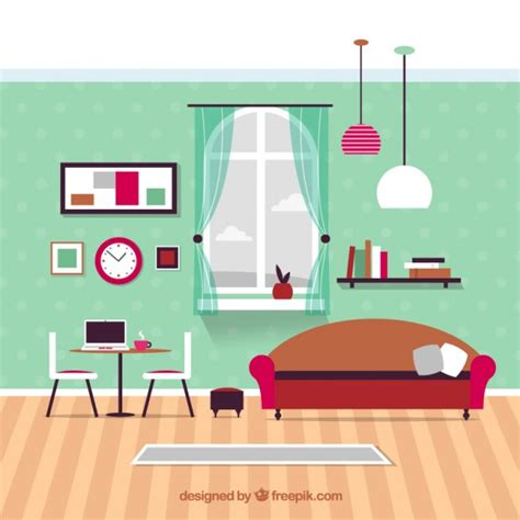 free room design modern living room furniture vector premium