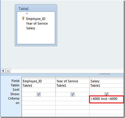 design view criteria setting query criteria in access 2010 through logical