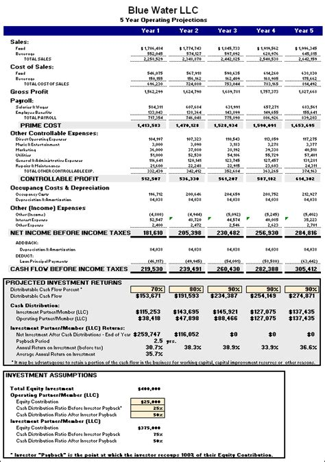 business plan financials template restaurant business plan template