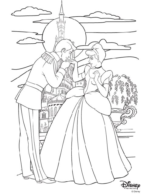 disney princess cinderella and prince charming coloring