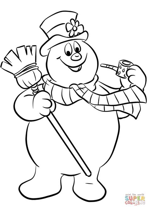 snowman clipart black and white frosty hat coloring page