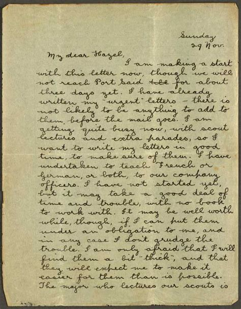letters of through and war the world war two correspondence of ted and juanita books letter to hazel sunday 29 nov 1914 cecil malthus