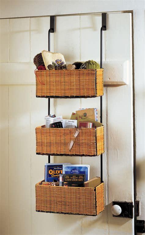 over the door storage rack with baskets home bath organizer metal over the door hanger with 3 wicker storage basket ebay