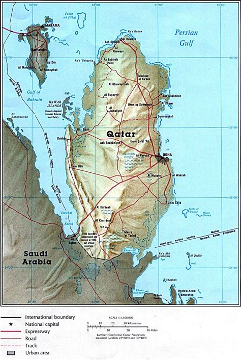 physical map of qatar detailed relief map of qatar qatar detailed relief map