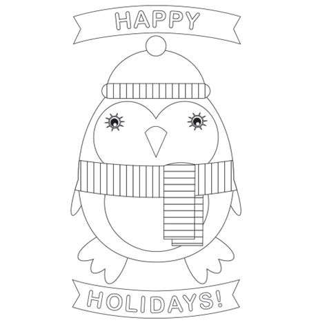 printable christmas cards penguin free christmas penguin coloring page card