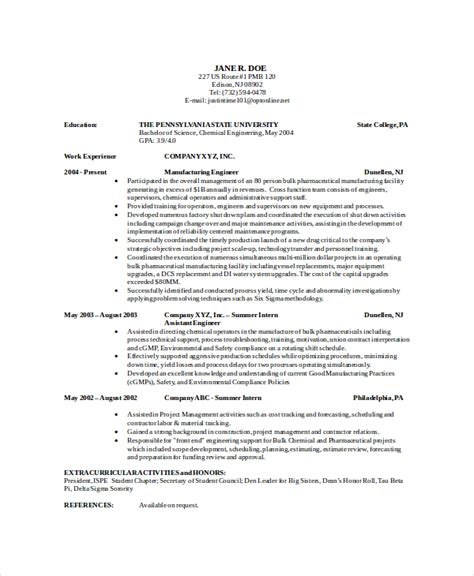 9 chemical engineering resume