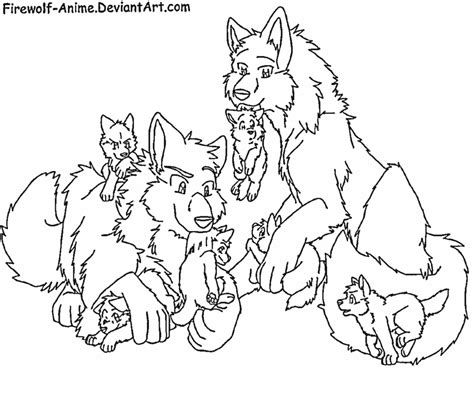 Request Wolf Pack By Firewolf Anime On Deviantart Anime Wolf Coloring Page