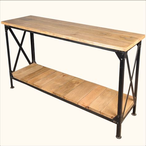 Metal Foyer Table industrial wrought iron metal wood console entry way foyer table furniture ebay
