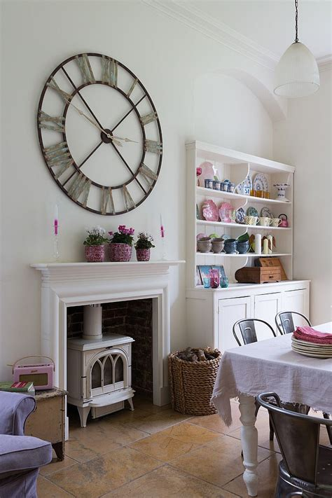 wall clock and corner hutch add personality to this