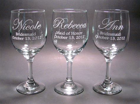 personalized barware personalized bridal party wine glasses set of 4