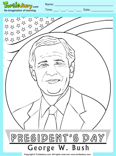 George W Bush Coloring Page by George W Bush Coloring Sheet Turtle Diary