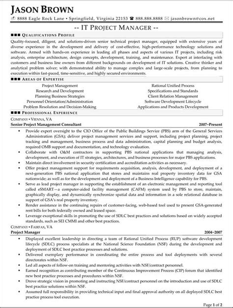 Technology Project Manager Resume by Information Technology Resume Exles