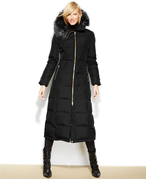 Calvin klein Hooded Faux fur trim Down Puffer Maxi Coat in