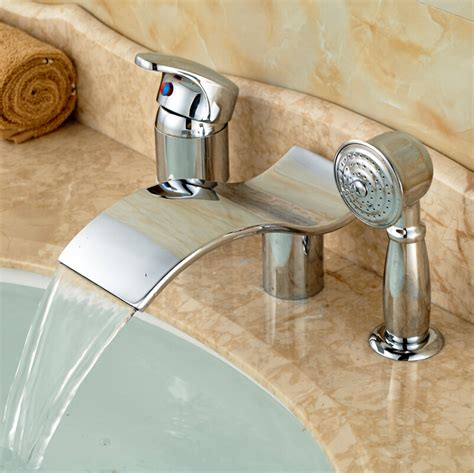 single handle bathtub faucet polished chrome waterfall spout 3pcs widespread bathtub