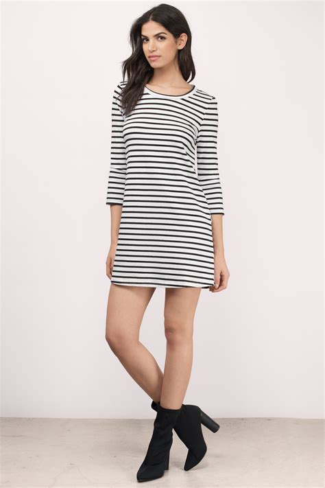 Id 289 Black White Stripe Dress grey white day dress grey dress striped dress day dress 42 tobi us