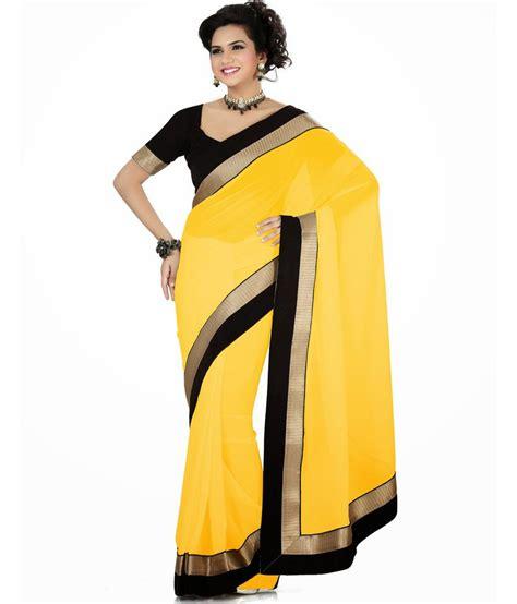 Orderan A N Sari sarees yellow faux georgette saree buy sarees yellow faux georgette saree at low price