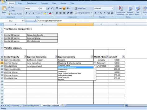 Excel Rental Template property management spreadsheet excel template for tracking rental income and expenses on