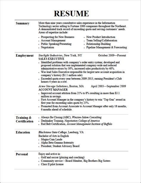 Sle Resume For Outbound Sales Outbound Telesales Resume