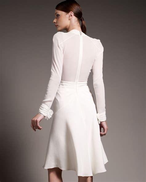 Chiffon Crepe White Dress zac posen crepe chiffon sleeve dress in white ivory lyst