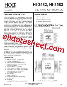 datasheet catalog integrated circuits hi 3582 datasheet pdf holt integrated circuits
