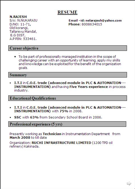 resume sle for i t i in c o e trade advanced module in plc automation instrumentation
