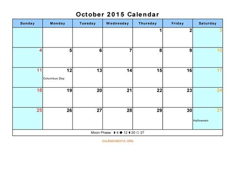 printable planner october 2015 9 best images of october calendar printable 2015 free