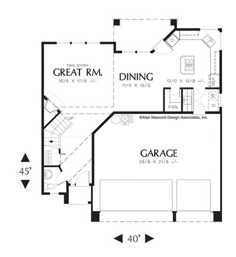 very open floor plans mascord house plan 2108 the burgess