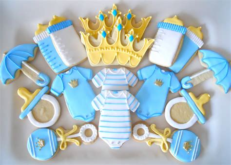 Baby Boy Shower Cookie Ideas by Oh Sugar Events Prince Shower Cookies