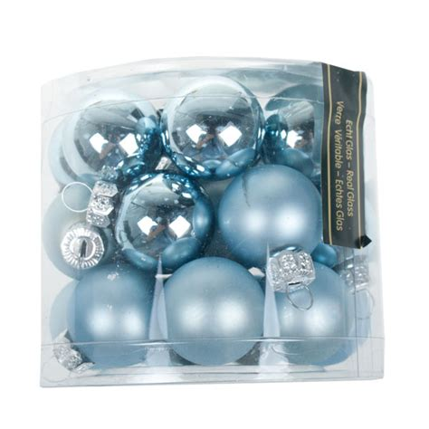 tub of 24 pale blue glass baubles 25mm baubletimeuk