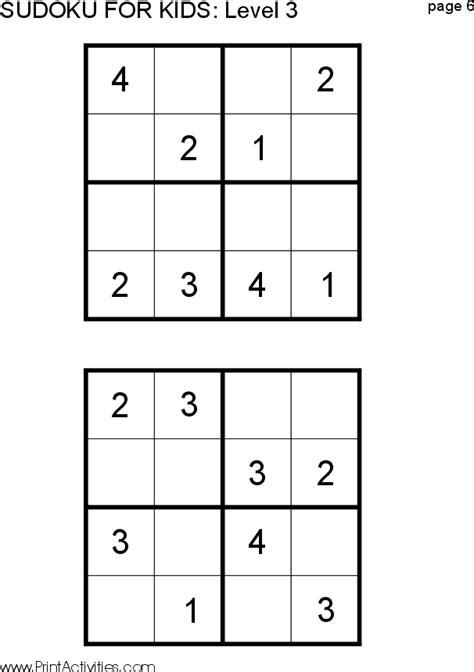 printable sudoku level 6 free kid sudoku puzzle level 3 page 6